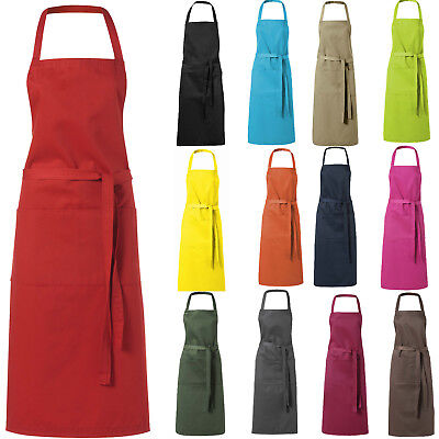Plain Unisex Cooking Catering Chef Work Apron Tabard with Twin Double Pocket