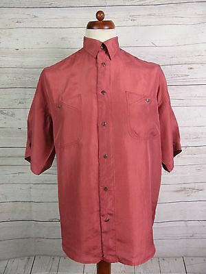 Vtg S-Sleeve Floaty Flouncy Brick Red 100% Silk Oversize Shirt -M- DO94