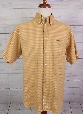 Vtg S-Sleeve Brown Textured Check Button Down Shirt By Crocodile Skin -L-  DO04