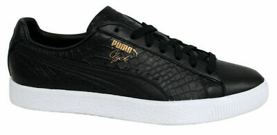 Puma Clyde Dressed Lace Up Black Leather Mens Trainers 361704 01 D35