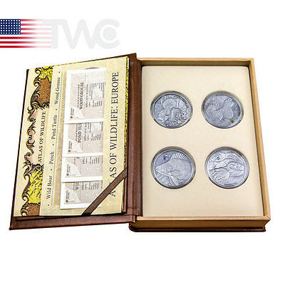 Andorra 2014 4x10 diners  Europe Atlas of Wildlife 4oz Antique finish Silver Set