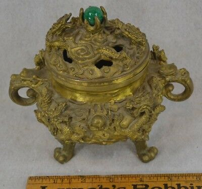 brass incense burner bowl dragons brass paw feet jade marble top knob