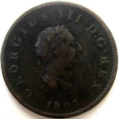 Great Britain Uk Coins, Half Penny 1807, George Iii