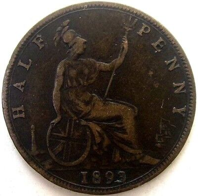 Great Britain Uk Coins, Half Penny 1893, Victoria