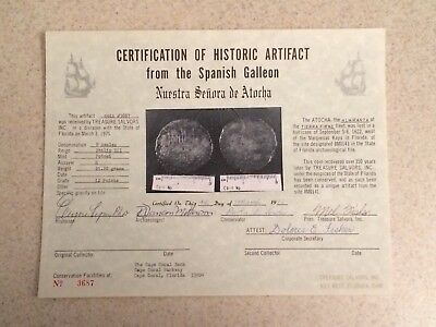 Atocha Shipwreck Coin 8 Reales Vintage Hand Signed Treasure Salvors Certificate.
