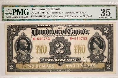 1914 Dominion of Canada $2 DC22a SeriesL-P Straight Will Pay PMG VF35 Item#T7207