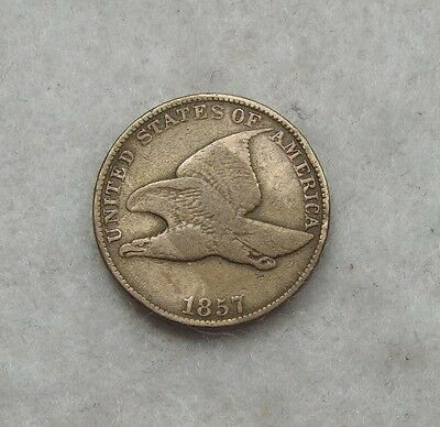1857 Flying Eagle Cent VERY FINE First Small Size 1c