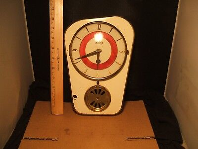 Mid Century Schatz white and red Wind up wall clock Right 2x a day no key Diner
