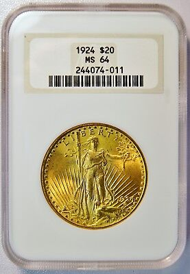 1924 $20 St Gaudens Gold Double Eagle Coin (NGC MS 64 MS64) Old Fatty Holder