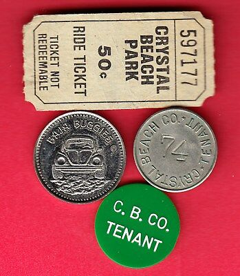 L@@K Collection Of Vintage Crystal Beach Tokens & Ticket ~ Nice Lot 4 Items!