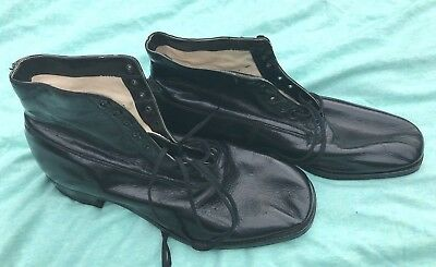 NEW Deadstock Vtg 1920's 30's BROOKS Brothers Black Leather Gatsby Boots Shoes 9