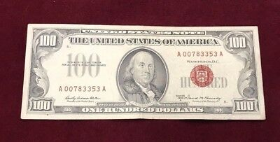1966 A $100 United States Note Red Seal - Fun 007 Bond Serial Number - NR
