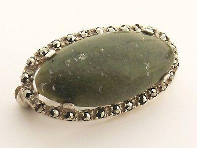 Irish Sterling Silver Bar Brooch with Connemara Marble stone and marcasites