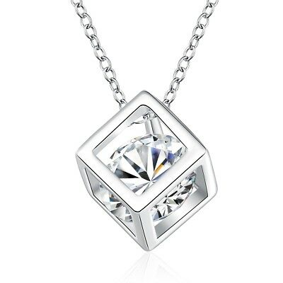 "Women Square Pendant Silver Plated Fashion Zircon Necklace 18"" Link New Style"