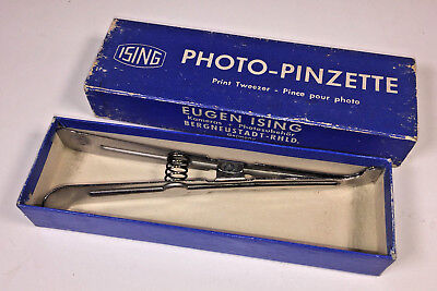 A PAIR of Ising Photo-Pinzette metal print tongs, spring-loaded, boxed & unused