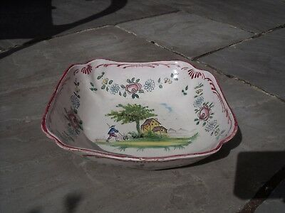 French Faience Bowl with Country scene & Flower decoration.