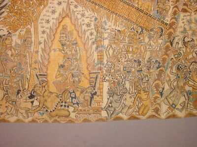 Fabulous Antique Scroll Painting On Canvas Indonesia Depicting Mahabarata **hg**