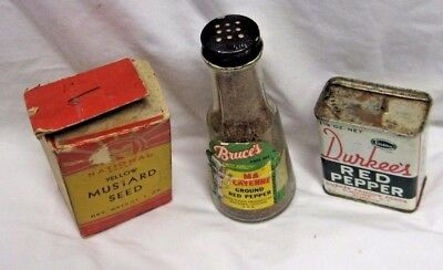 Vintage Durkee's Red Pepper Bruce's Ma Cayenne And National Brand Mustard Seed