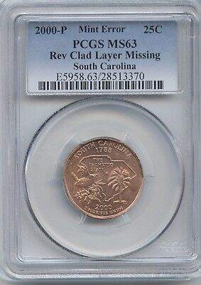 2000 Sc 25¢ Rev. Clad Layer Missing Pcgs Ms-63 (Red)