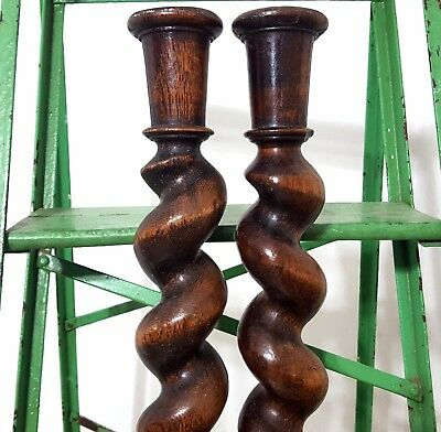 """Spiral Turned Barley Twist Column 25"""" Matched Pair Antique French Wood Pillar *"""