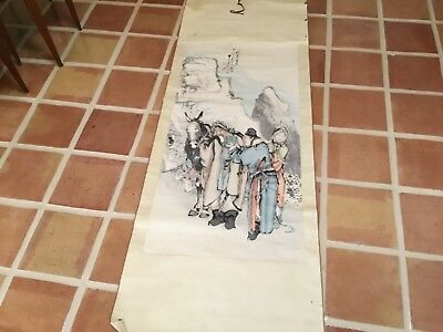 Antique Qing Chinese scroll painting travelers in mountains signed MAGNIFICENT