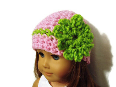 """Crochet Hat Fits American Girl Dolls 18"""" Doll Clothes Pink w/ Green Flower"""