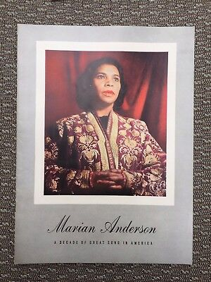 African American Singer Marian Anderson Signed 1945 Concert Program Dallas