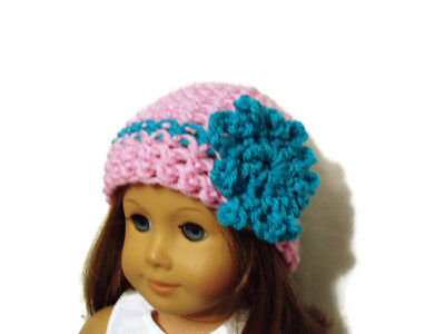 """Crochet Hat Fits American Girl Dolls 18"""" Doll Clothes Pink w/ Turquoise Flower"""