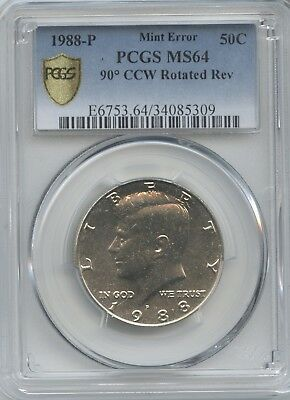 1988 50¢ 90º Ccw Rotated Rev. Dies Pcgs Ms-64