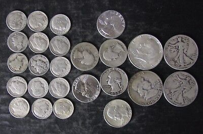 "Lot: $5.00 Face Value US 90% Silver Coins, ""Junk Silver"", pre-1965 - No Reserve"