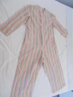 Ticking STRIPE Antique YOUNG BOY DROP SEAT PJ Pajamas green pink white vintage