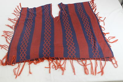 Fringed Geo Striped Poncho Size Large