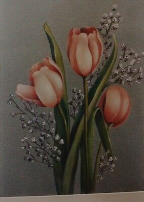 """Judy Helton vintage tole painting pattern packet """"Tulips & Babies Breath"""""""