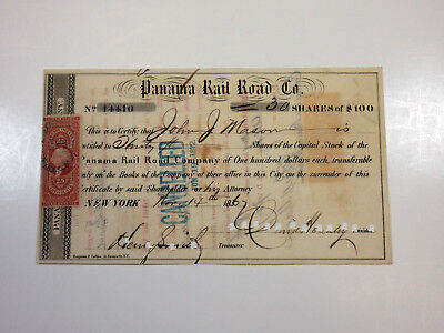 Panama Rail Road Co 1867 Stock Certificate 30 Shares=$3000 Cancelled + Revenue