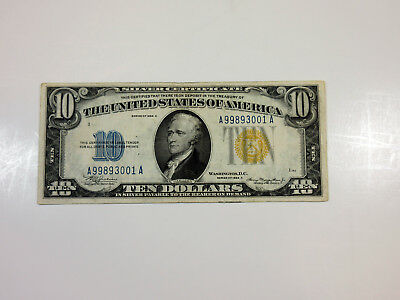 US 10 Dollars Series 1934A Silver Certificate North Africa Yellow Seal VF