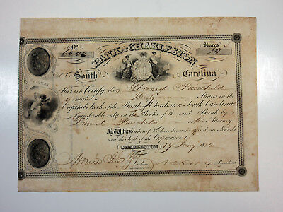 Bank of Charleston South Carolina 1852 Stock Certificate for 30 Shares Fine+