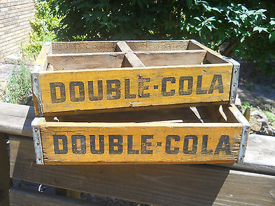 Lot of 2 Vtg Yellow Double Cola Boxes/Crates-Soda Boxes-One has 4 Compartments