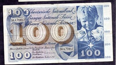 100 Francs from Switzerland 1967