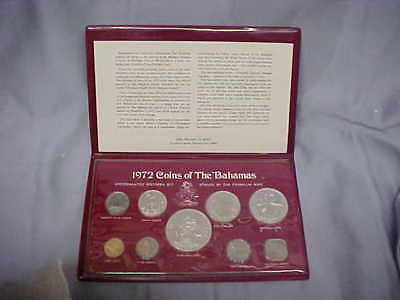 1972 Coins the Bahamas Franklin Mint Uncirculated Specimen Set W coa W CASE