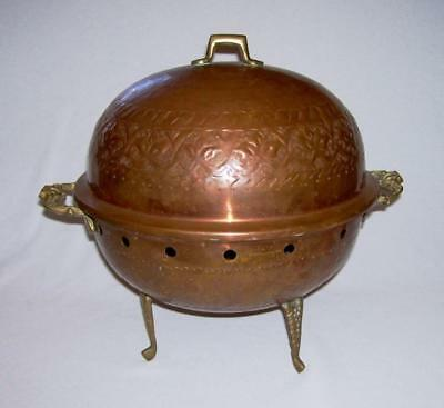 Vintage 4-Pc Hammered Copper DOMED GRILL KETTLE w/Brass Accents+Embossed Designs