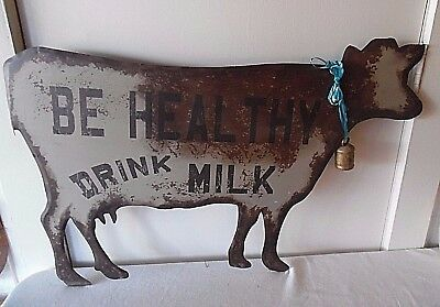 Primitive Rustic Look Metal Cow Wall Sign Be Healthy Drink Milk W/brass Cow Bell