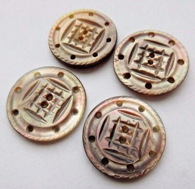 Lovely Lot of 4 Matching Antique Victorian Carved Pierced MOP Shell BUTTONS 3/4""