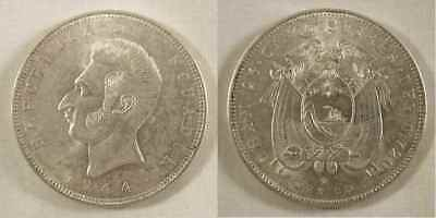 1944 Ecuador Crown Size Silver Coin Five Sucres Mint Mark Mo Mexico City Unc.