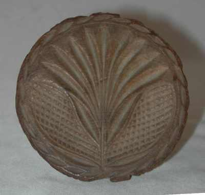 Beautiful Antique Lathe Turned Carved Wood Butter Print Stylized Flower Design