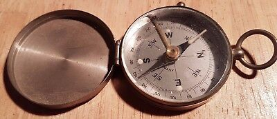 Antique Nickel Plated Brass Pocket Compass Made in Germany
