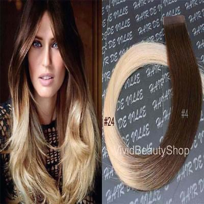 Ombre Remy Tape In Skin Weft Human Hair Extension Medium Brown Light Blonde 4/24