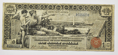 1896 $1 Silver Certificate Educational Large Note Fr#224 206623 One Dollar Rare