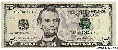 REAL $5 Dollar UNCIRCULATED United States Mint Five Bill Cash Money Bank Note