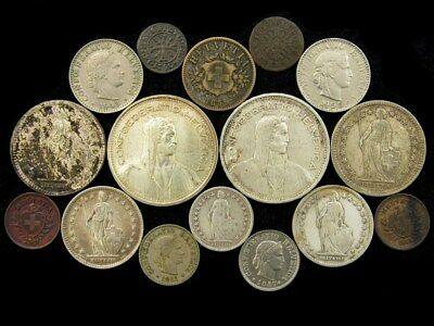 Lot of 16 Switzerland & Swiss Canton Coins Late 18th Century to 1967 - ASW 1.6oz