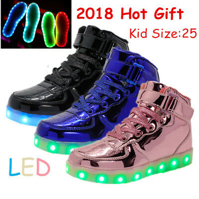 Kids LED High Top Light Up Shoes Unisex Couple Lace Up Luminous Casual Sneakers